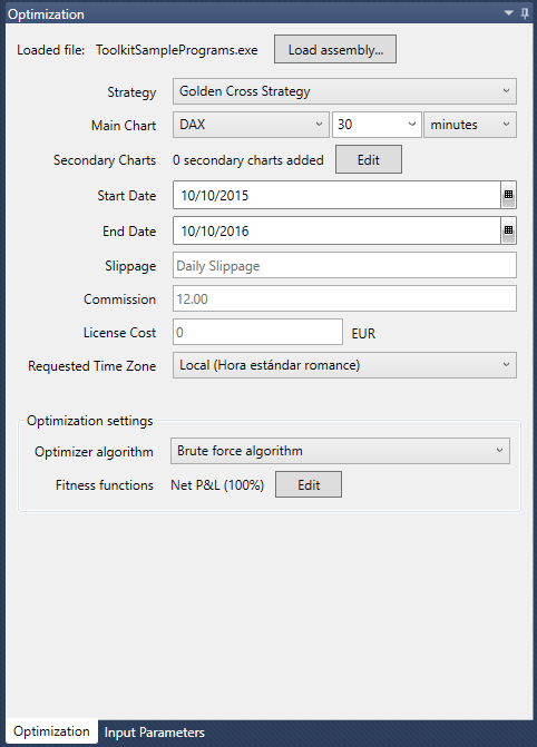Optimizer tab
